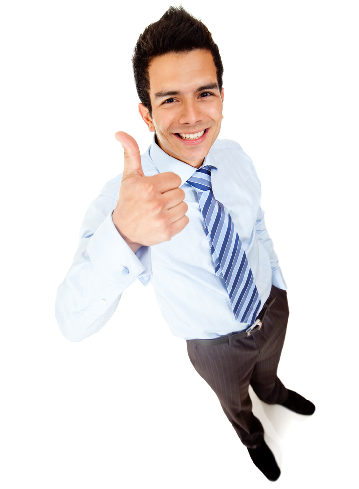 Businessman with thumbs up - isolated over a white background