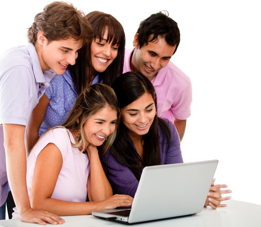 Casual group of young people with a laptop - isolated over white