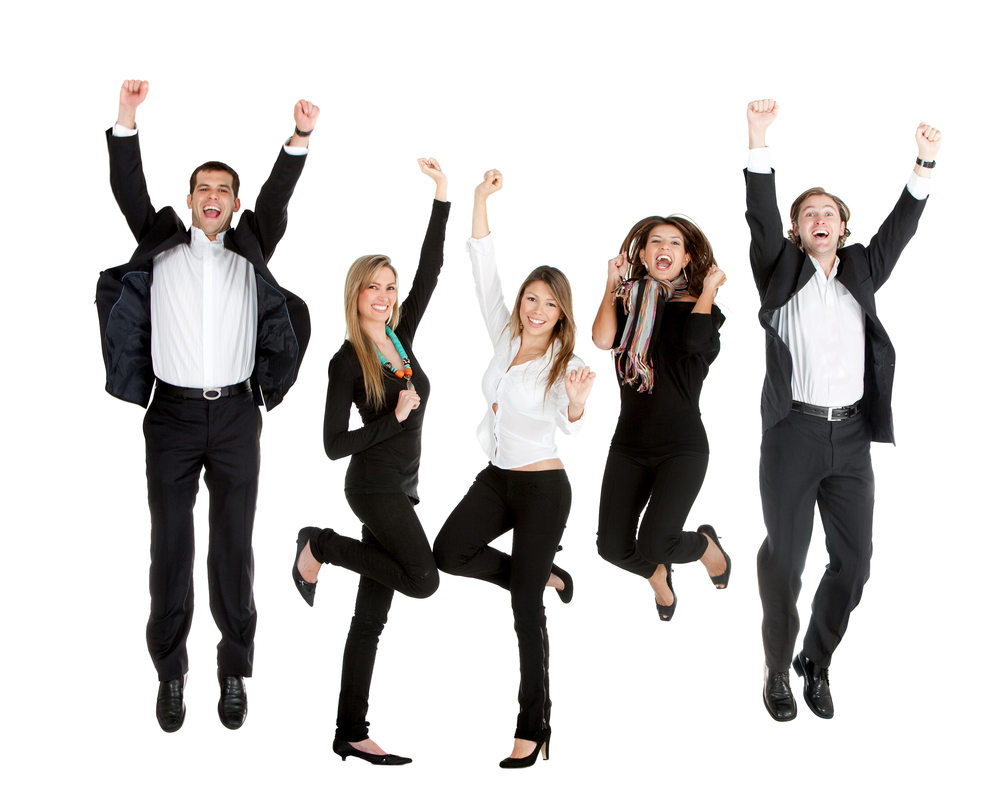 Happy business people jumping - isolated over a whte background